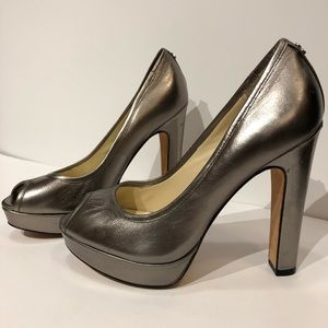 COACH Breana 7 leather peep toe platform heels